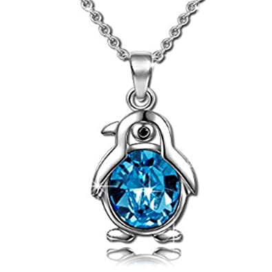 Sterling Silver Penguin Pendant S925 Necklace with Swarovski Crystals - Anniversary Gifts for Her PQbnZv