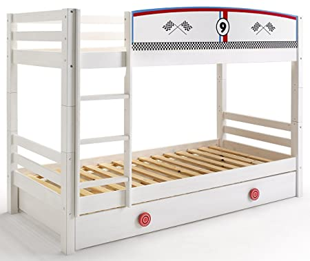 Pegane Children S Bunk Bed With Drawer And Safety Gate Racing Cars