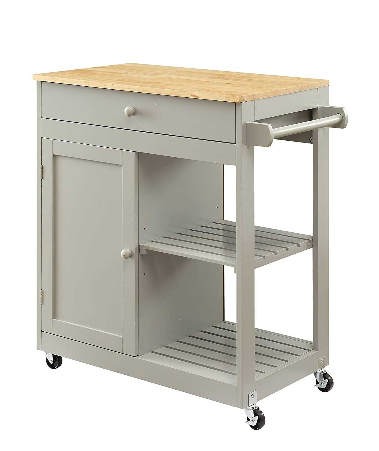 LIFE Home Oliver and Smith - Nashville Collection - Mobile Kitchen Island Cart on Wheels - Wooden Grey - Natural Oak Butcher Block - 30