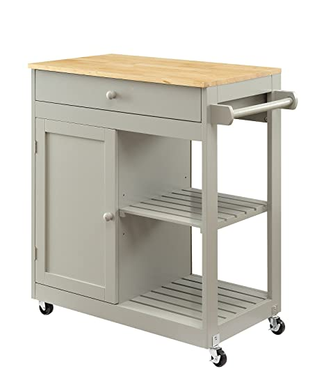 Oliver and Smith - Nashville Collection - Mobile Kitchen Island Cart on  Wheels - Wooden Grey - Natural Oak Butcher Block - 30\