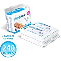 WaterWipes Unscented Baby Wipes, Sensitive and Newborn Skin, 4 Packs (240 Wipes)