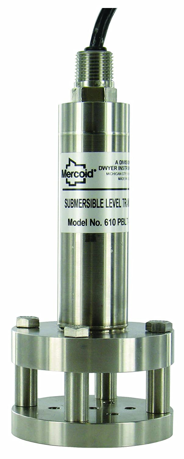 Dwyer Mercoid Series PBLT2 316 Stainless Steel Lightning & Surge Protected Submersible Level Transmitter with Polyurethane Cable, Range 5 psi, 0 to 200F, 4 to 20 mA DC by Dwyer B009P9SRUM