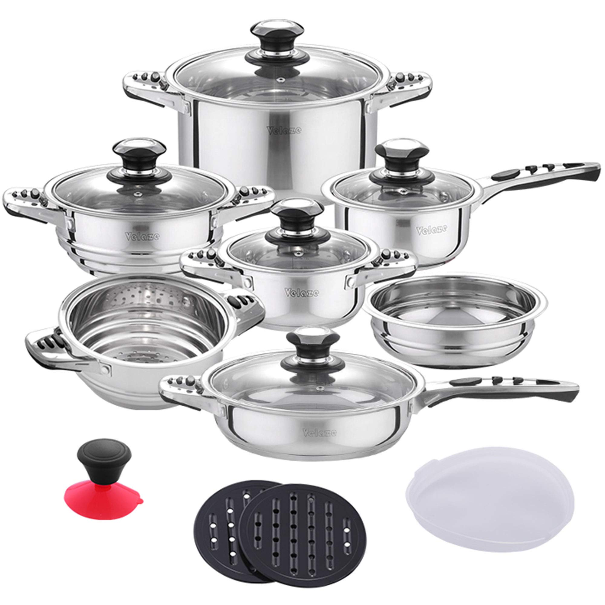 Velaze 16-Piece Cookware Set, Stainless Steel Pots and Pans Set with Glass Lids, Silver