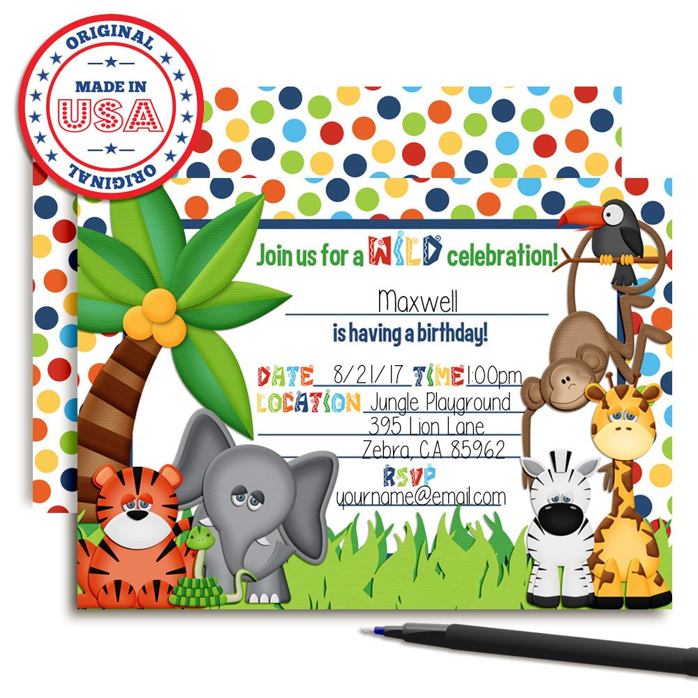 Amazon Amanda Creation Jungle Themed Birthday Party Fill In Invitations 20 Cards With Envelopes Toys Games