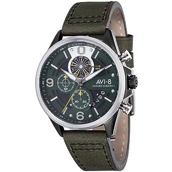 AVI-8 Hawker Harrier II Reloj de Hombre Cuarzo 45mm Correa de Cuero AV-4051-02: Amazon.es: Relojes