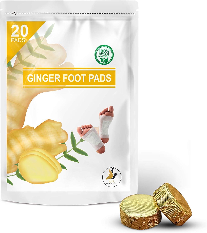Ginger Foot Pads 20 PCS + Bonus Ginger Bath Soak Tablets 2 PCS - Ginger Foot Patch - Sleeping Pad - Better Sleep Patch - Pure Natural Ginger Powder and Bamboo Vinegar Premium Ingredients Feet Pads