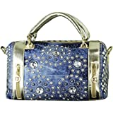Donalworld Women's Woven Style Diamond Floral Decoration Denim Shoulder Handbag