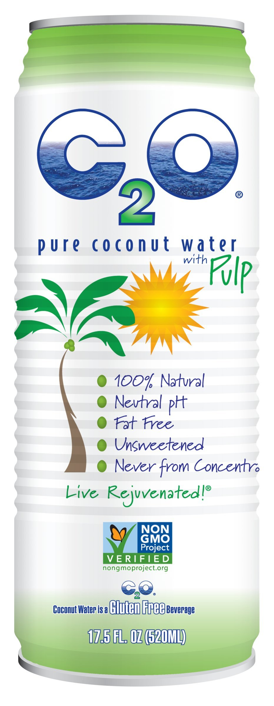 C2O Pure Coconut Water, With Pulp, 17.5 Fluid Ounce (Pack of 12)