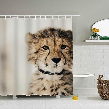 Amazon Efyh Baby Cheetah Shower Curtain Bathroom