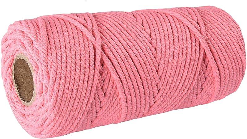 SUNTQ Cordón de macramé Algodón de poliéster Trenzado de 4 Hilos 3mm x 100m Cuerda de algodón Suave para Colgar Plantas artesanales Colgar artesanías, decoración de Tejer, Hilo de algodón Melon Rojo: