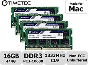 Timetec Hynix IC 16GB KIT(4x4GB) Compatible for Apple DDR3 1333MHz PC3-10600 for iMac (Mid 2010 27 inch, Mid 2011 21.5/27 inch) MAC SODIMM Upgrade |MAX Slots Upgrade for iMac 11,3 iMac 12,1 iMac 12, 2
