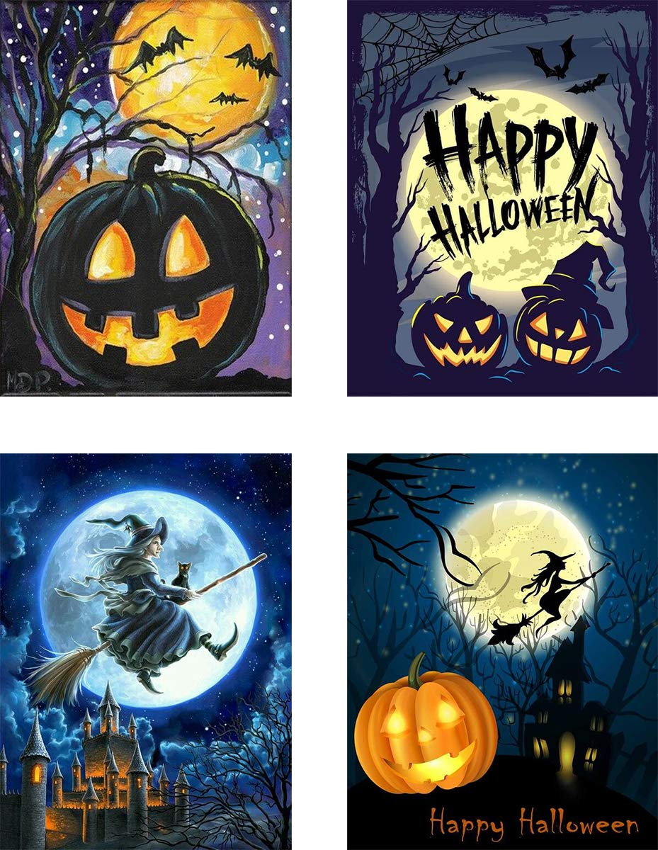 4-Pack Halloween 5d Full Drill Diamond Art Painting DIY Witch Halloween Party Decorations Game 12x16 Inch by SIIYIX