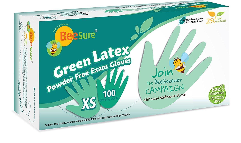 BeeSure Green Latex Powder Free Exam Gloves w/Citrus Mint Scent