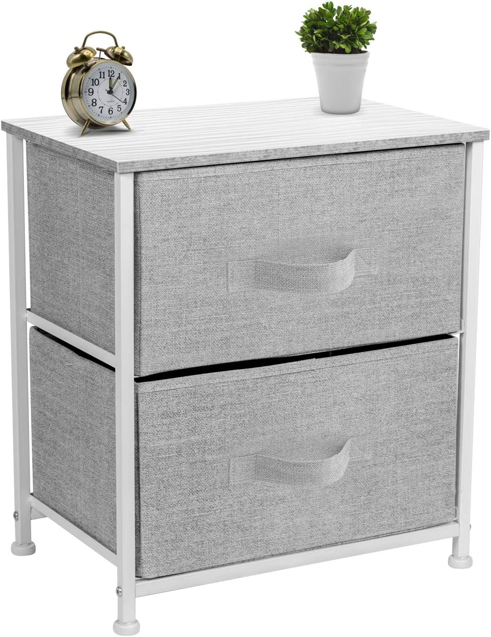 Sorbus Nightstand with 2 Drawers – Bedside Furniture Accent End Table Chest for Home, Bedroom Accessories, Office, College Dorm, Steel Frame, Wood Top, Easy Pull Fabric Bins White Gray
