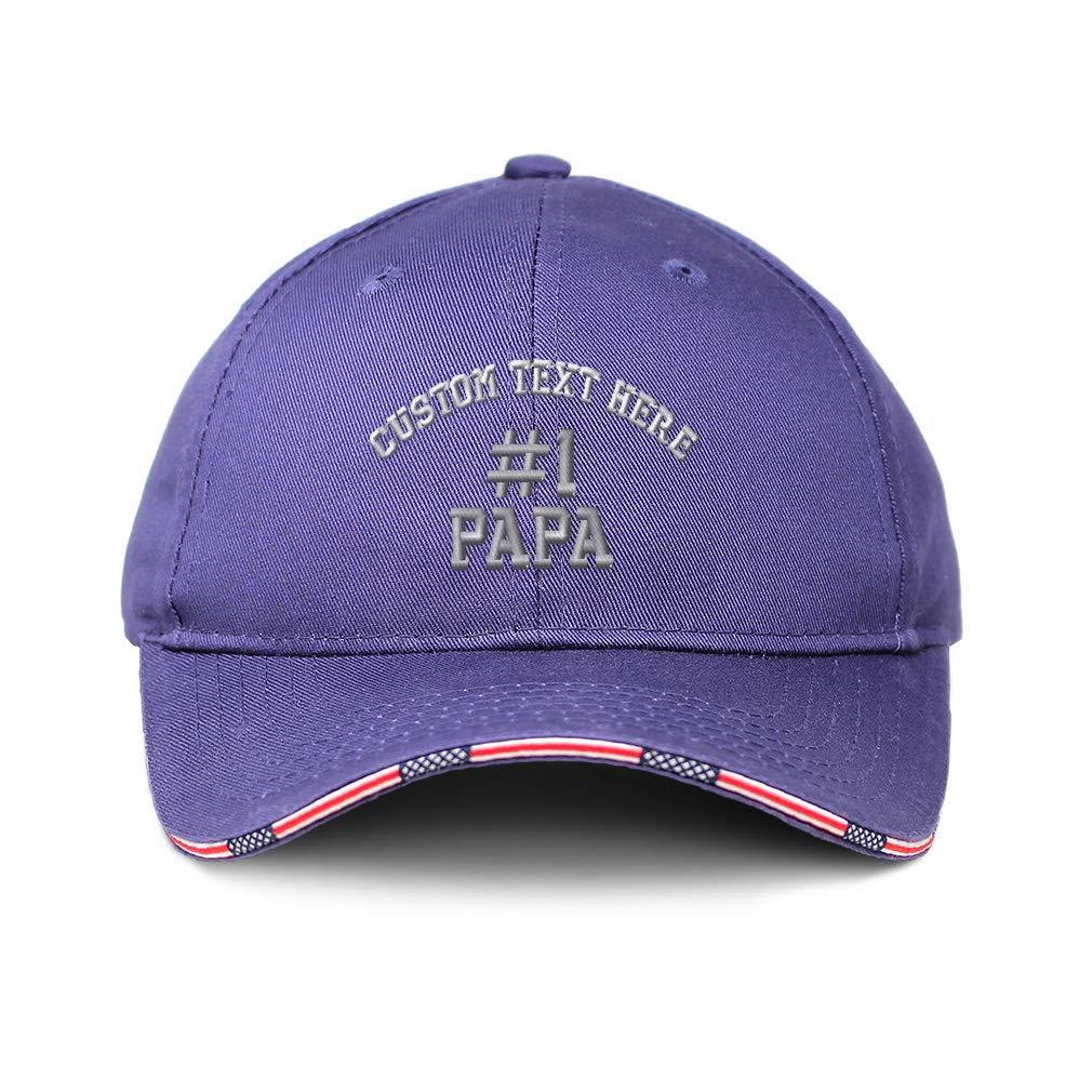 Custom American Flag Hat #1 PAPA Embroidery Cotton Patriotic USA Baseball Cap