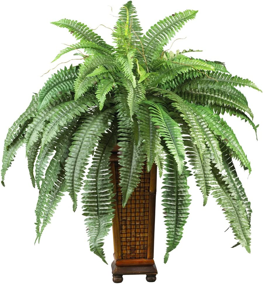 Nearly Natural 6553 Boston Fern with Wood Vase Decorative Silk Plant Green