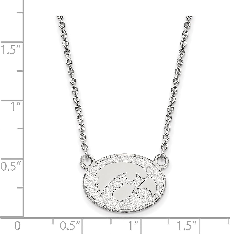 925 Sterling Silver Rhodium-plated Laser-cut University of Iowa Small Pendant