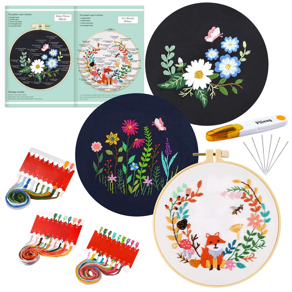 Bamboo Embroidery Hoops White Embroidery Clothes Pllieay Full Range Embroidery Starter Kit with Fox Pattern and Instructions Color Threads and Tools