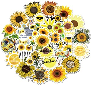 You are My Sunshine Sunflower Stickers, 50pcs, Sunflower Vine Themed Decal, Vinyl Waterproof Stickers for Hydroflasks, Laptop, Skateboard, Water Bottles, Computer, Car. Sunshine(Flower's Sayings)