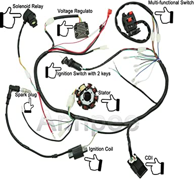 Amazon.com: JIKAN Complete Wiring Harness kit Wire Loom Electrics Stator  Coil CDI for ATV Quad 4 Four Wheelers 150CC 200CC 250CC Go Kart Dirt Pit  Bikes: AutomotiveAmazon.com