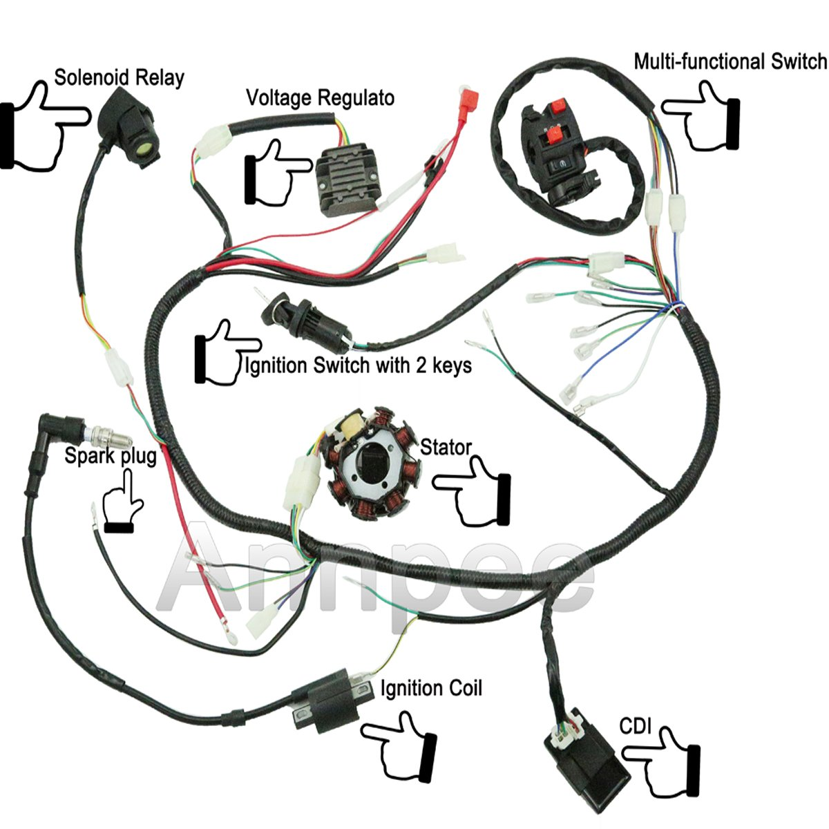 Jikan Annpee Complete Wiring Harness Kit Wire Loom 4 Regulator Diagram For Scooter Electrics Stator Coil Cdi Atv Quad Four Wheelers 150cc 200cc 250cc Go Kart Dirt Pit