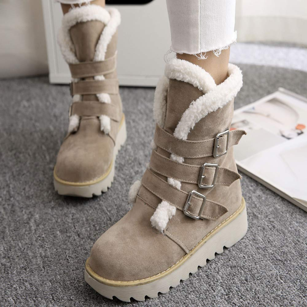 Respctful ♪☆ Women's Fashion Maiden Snow Boot Round Toe Booties Solid Flat Boots Warm Ankle Boots for Winter by Respctful (Image #3)