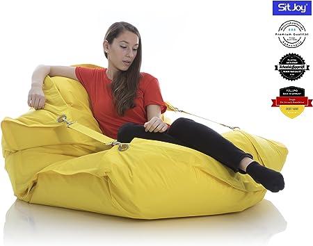 Sitjoy Fashion Sitzsack | 140x200 cm | Outdoor & Indoor | 390 Liter Füllung (Gelb mit Ringen | EPS Styropor Micro Perlen schadstoffgeprüft)