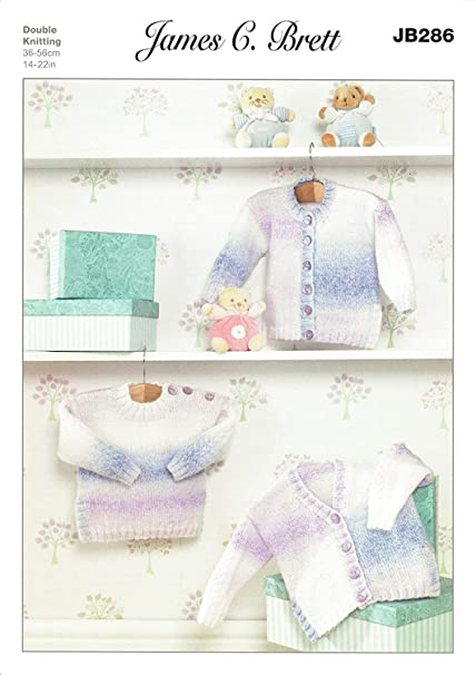 795233cef James C Brett JB286 Knitting Pattern Baby Cardigans and Tunic Sweater in Baby  Marble DK  Amazon.co.uk  Kitchen   Home