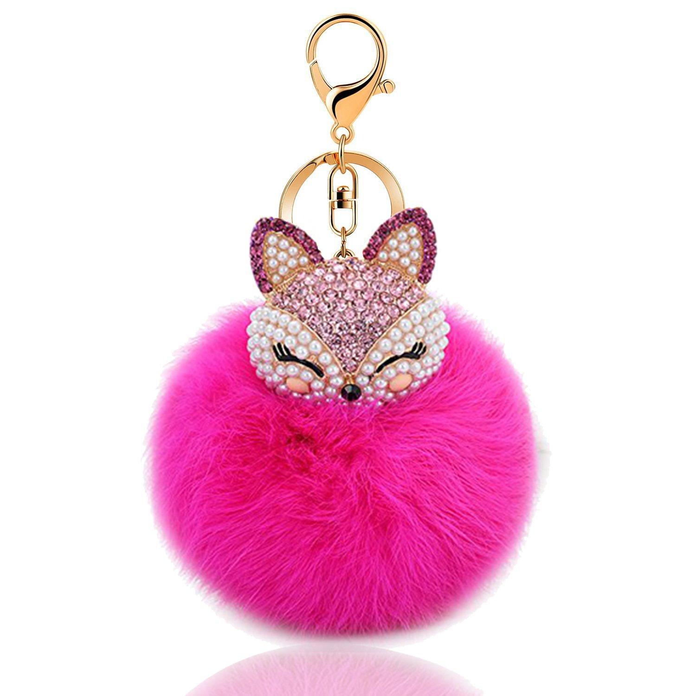 Besttimes Mignon renard boule de fourrure Pom Pom Keychain avec Inlay strass porte-clé s pour Womens Bag ou té lé phone portable ou voiture pendentif (Noir)