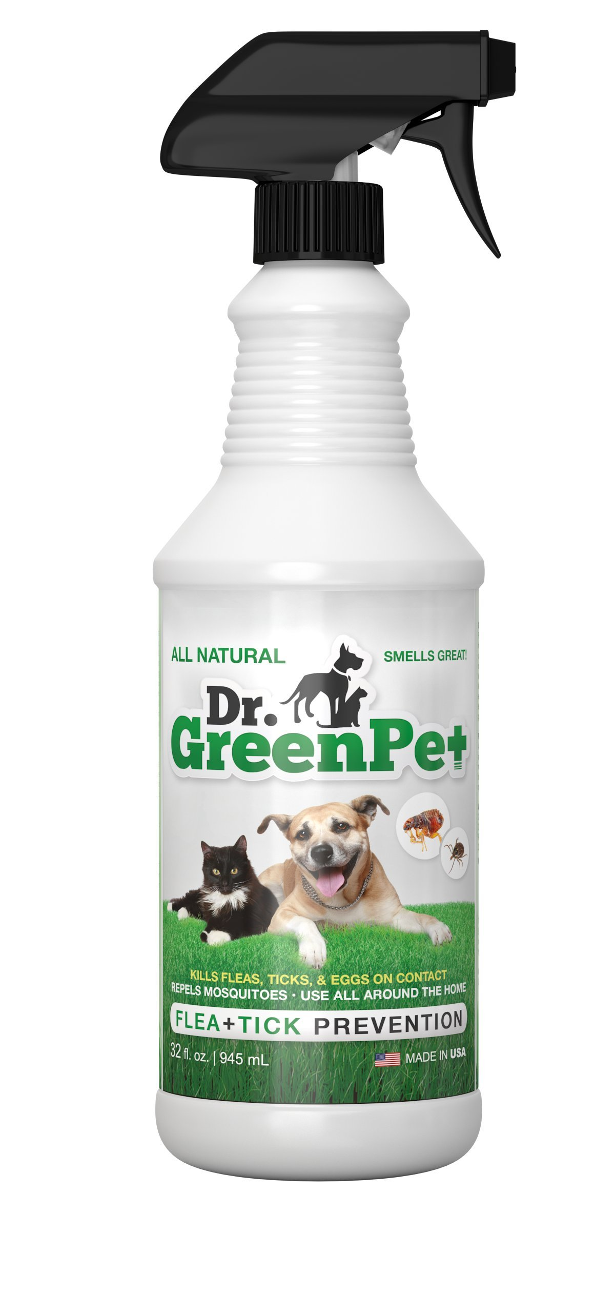 Dr. GreenPet All Natural Flea Control, Flea & Tick Prevention for Dogs & Cats - 32oz Spray