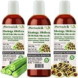 Moringa Öl 300ml von MoriVeda garantiert rein aus Oleifera Ölsamen und Ölschoten für Hautpflege, Haarpflege, Wundbehandlung, Anti-Aging (3x100ml)