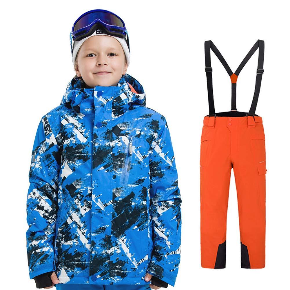 LSERVER Bambini Inverno Caldo Cappuccio Snowsuit Bambino Infante Antivento e Impermeabile & Snowproof Giacca da Sci + Pantaloni 2 pz Impostare HX6304F