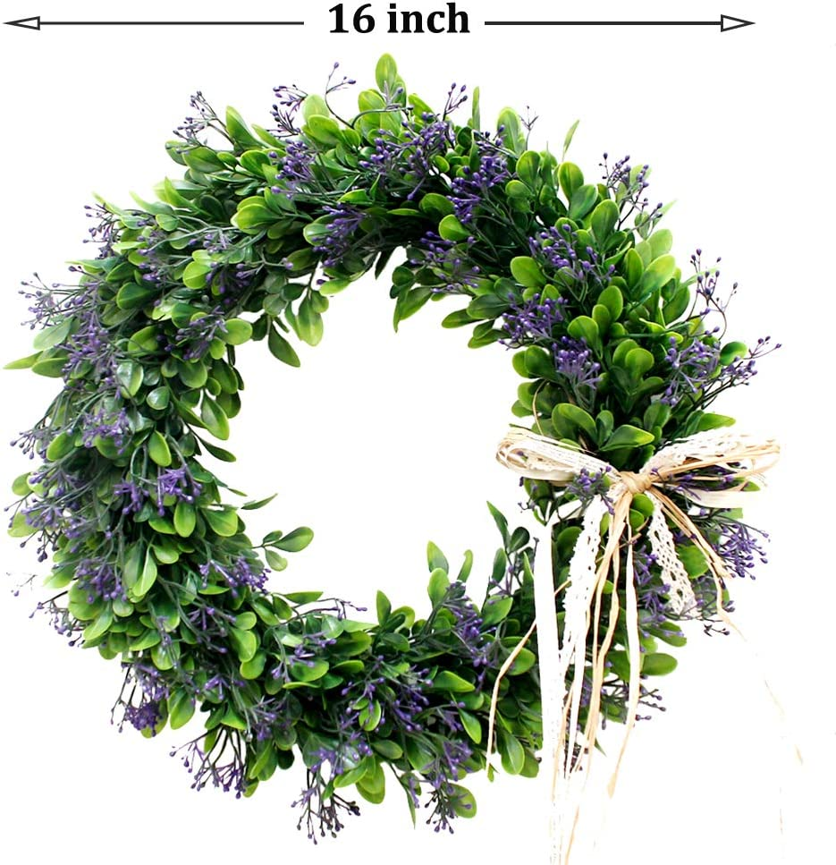 Palmhill 16 Inch Wreath Front Door Artificial Plastic Green Leaf Eucalyptus Wreath With Bow Spring Farmhouse Hoop Wreath Greenery Garland For Home Kitchen Office Wall Window Wedding Décor All Season Kitchen Dining