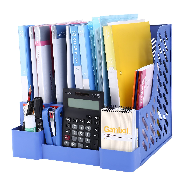 CRUODA Desktop Documents 4 Compartment, File Rack, Office Desk Shelf, Blue, for Documents, Magazines, Notebooks