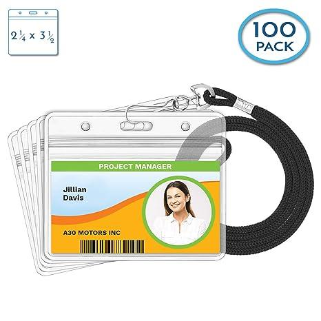 Horizontal ID Badge Holder with Lanyard ID PAK by Shat-Tech inc