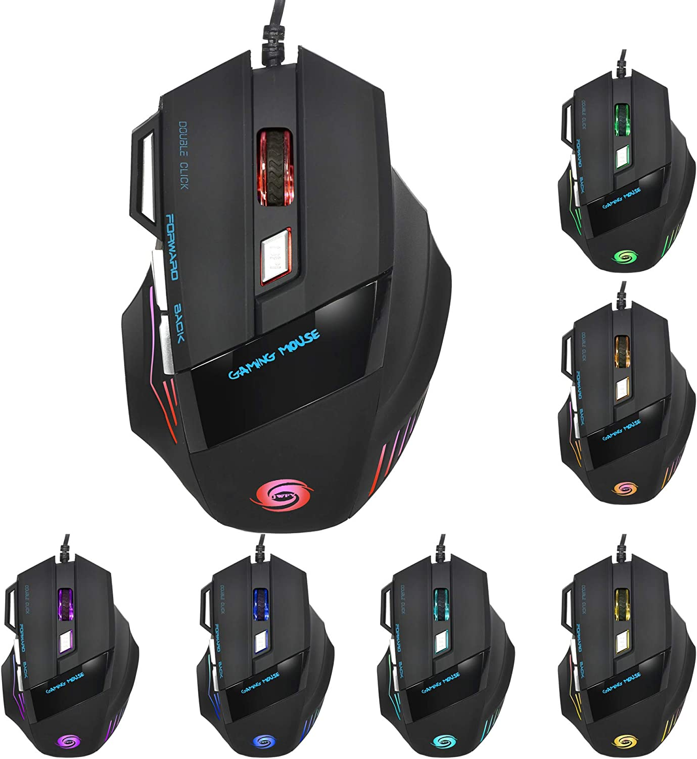 Alician Professional Wired Gaming Mouse Fantastic Alternating Light USB Mouse for PC Computer A908