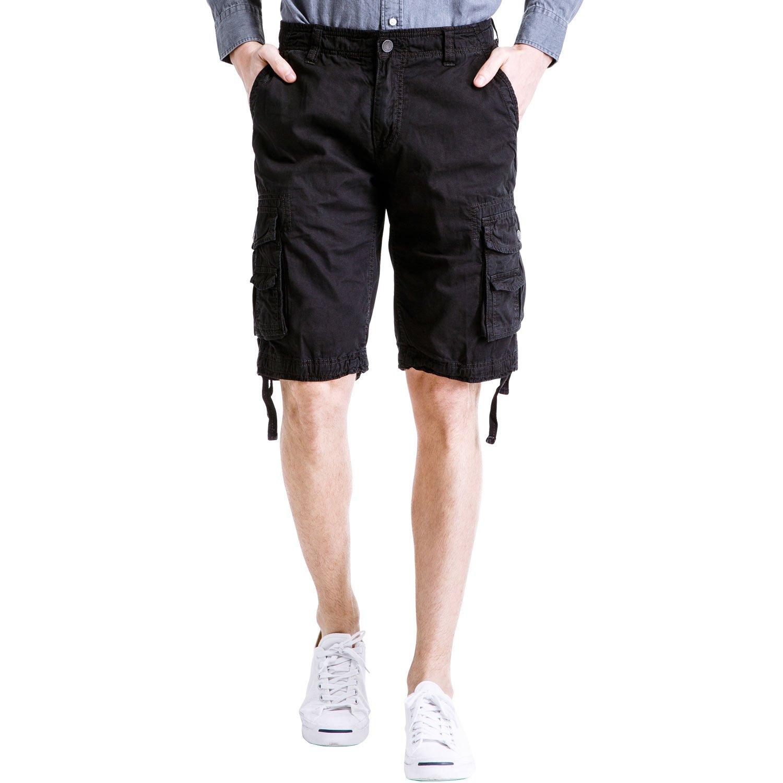POPOOL PPYF04 Men's Cotton Lesuire Multi Pockets Outdoor Shorts Pants (30, Black)