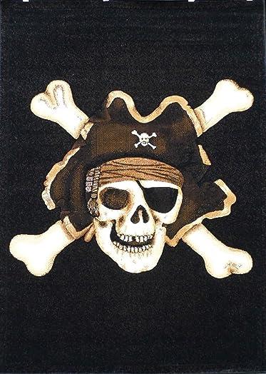 Champion Rugs Pirate Skull Area Rug Design CR79 5 Feet x 7 Feet