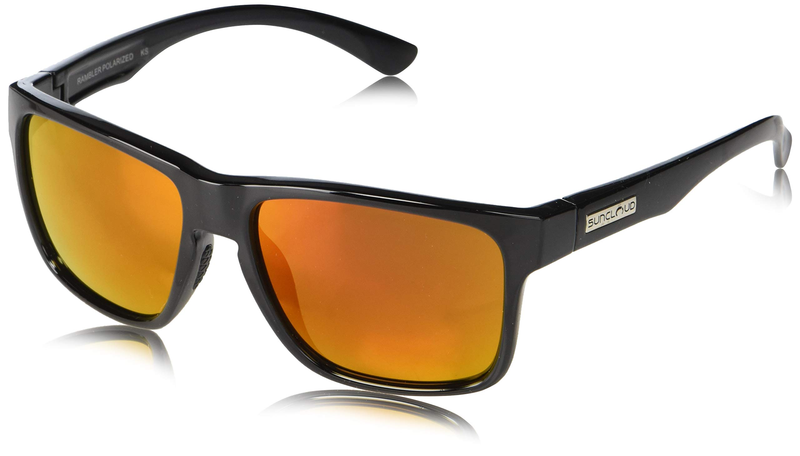 Suncloud Rambler Polarized Sunglasses, Black, Red Mirror