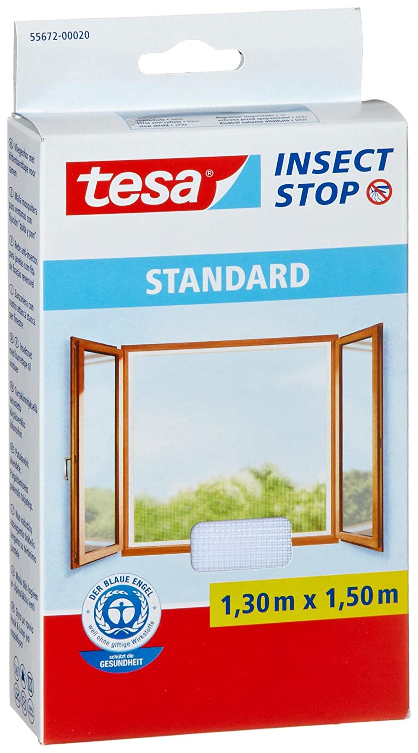 tesa 55672-00020-03 Insect Stop Hook and Loop Standard Easy To Use, Washable Insect Screen For Windows, 1.3 x 1.5 m - White