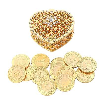 WEDDING CEREMONY GOLD HEART ARRAS DE BODA 13 UNITY COINS  ARRAS BOX CHEST