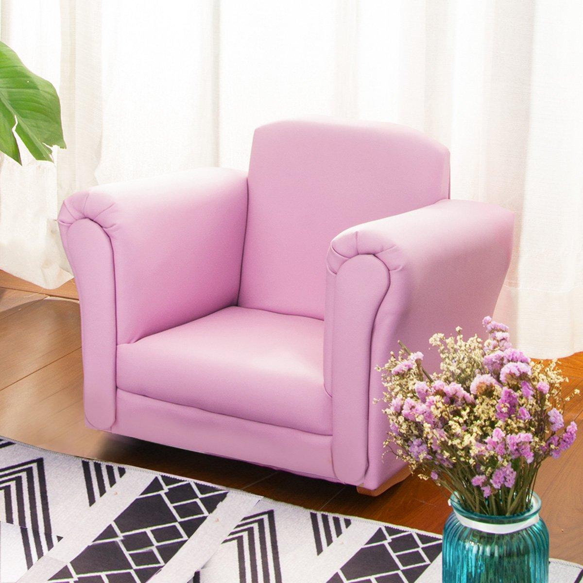 Harper&Bright Designs PP038177 Kids Sofa Rocking Children Armrest Chair with PU Leather Pink