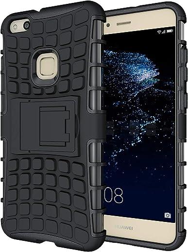 Custodia Huawei P10 lite,Pegoo Cover Huawei P10 lite Ultra Slim armatura antiurto Copertura Cassa Custodia Silicone cover Case supporto stabile Protettiva Shell per Huawei P10 lite (Nero)