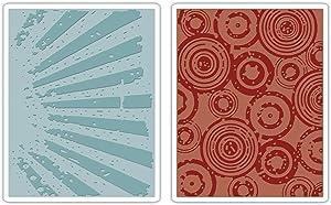 Sizzix Texture Fades Embossing Folders 2PK - Rays & Retro Circles Set by Tim Holtz