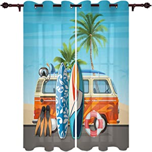 ZOE GARDEN Sheer Window Curtains Panels Treatment with Hooks, Cartoon Style Minibus and Surfboard Door Window Covering Privacy for Kitchen Corner Bedroom Live Room Bathroom 80