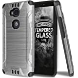 Huawei Sensa LTE Case With TJS Tempered Glass Screen Protector, Dual Layer Hybrid Shockproof Resist Rugged Case Cover Metallic Brush Finish With Hard Inner Layer For Huawei Sensa LTE (Grey)