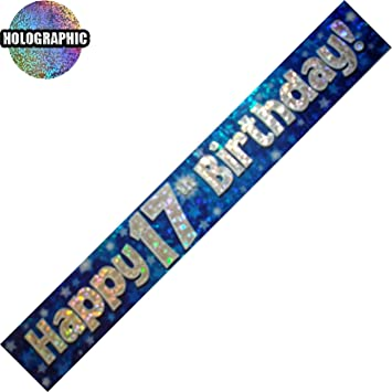 Blue Holographic Boys// Men Age Foil Banners Birthday Party 9 Ft Long Banner