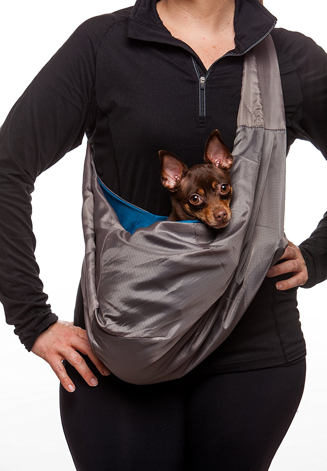 FUR-EEZ Ultra PORTABLE Hands-Free Pet Sling Carrier with Attached Small Pouch + Collar Latch and Loop for Dogs/Cats/Bunny Under 12 lbs