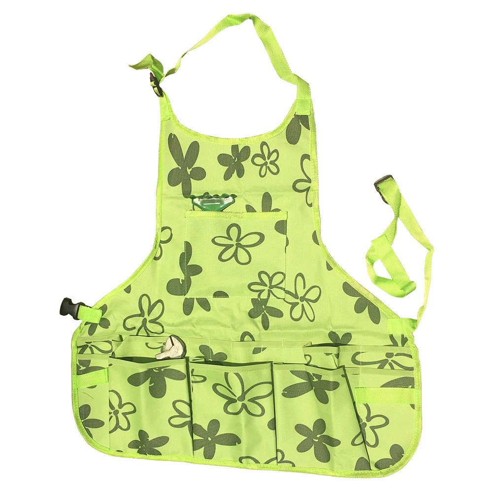Waterproof Garden Tool Apron 600D Oxford Work Aprons Grilling Tools Gardening Workers Apron with Tool Pockets and Adjustable Belt for Women WQ13 (Green)