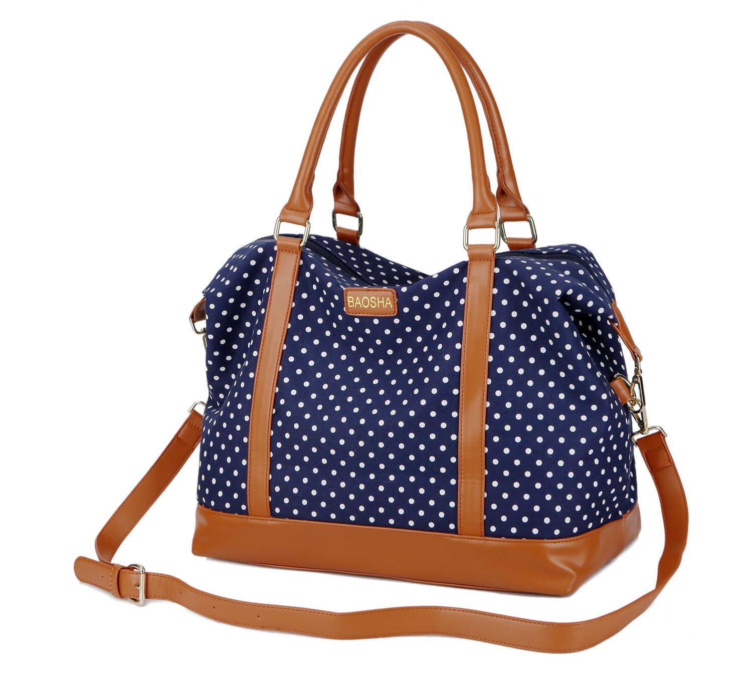 bed8816458c8 BAOSHA HB-28 Canvas Women Travel Holdalls Ladies Carry-on Tote Bag Cabin  Flight Travel Business Sports Duffle Bag Overnight Weekend Travel Bags  (Blue Dot)